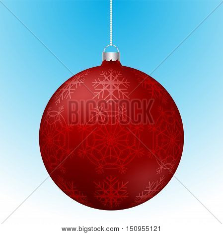 Realistic 3D red christmas ball with white reflections and abstract snowflake pattern on surface hanging on white rounded chain. Red rounded christmas decoration with snowflakes hanging.
