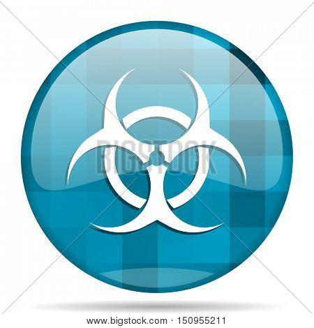 biohazard blue round modern design internet icon on white background