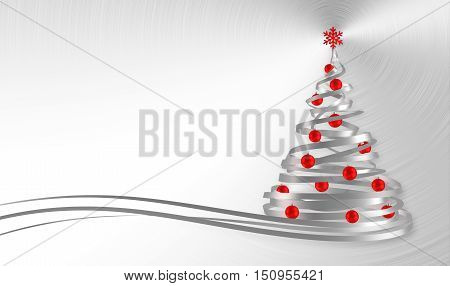 Christmas Tree From White Tapes With Red Balls Over Metal Background. 3D Illustration.