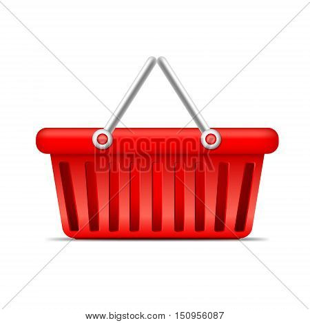 red shopping basket isolated on whote background