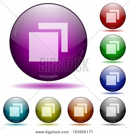 Set of color overlapping elements glass sphere buttons with shadows.