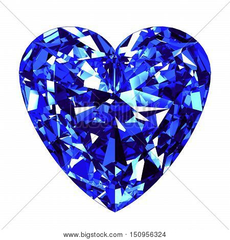Sapphire Heart Cut Over White Background. 3D Illustration.