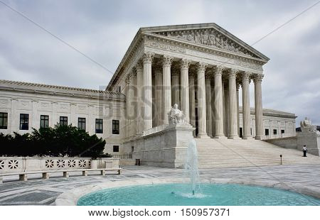 Supreme Court building in Washington DC. Equal Justice Under Law.