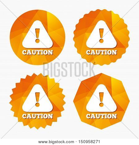 Attention caution sign icon. Exclamation mark. Hazard warning symbol. Triangular low poly buttons with flat icon. Vector