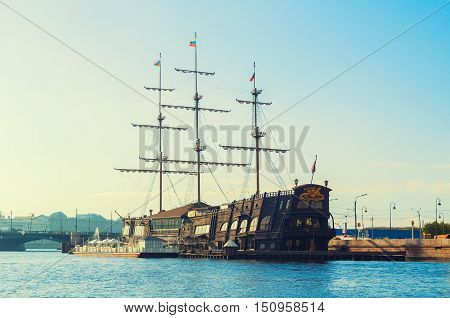 ST PETERSBURG RUSSIA-OCTOBER 3 2016. Flying Dutchman-restaurant on the water in St Petersburg Russia.The Flying Dutchman is three-mast sailboat the unique copy of Dutch Fleut Amsterdam of 1748 year