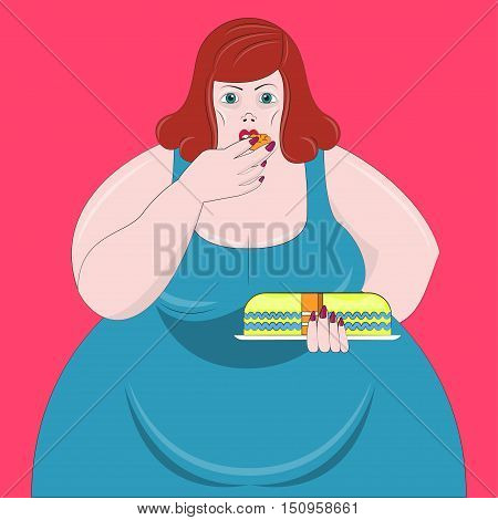 Obesity woman Vector illustration Fat red-haired woman in blue dress is eating cake with her hands