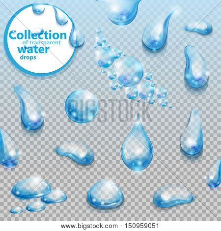 Water. Set of transparent water drops. Collection of water design elements. Vector illustration.
