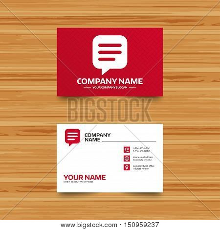 Business card template. Chat sign icon. Speech bubble symbol. Communication chat bubble. Phone, globe and pointer icons. Visiting card design. Vector