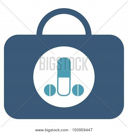 Male Sexual Toolbox vector icon. Style is bicolor flat symbol, cyan and blue colors, rounded angles, white background.