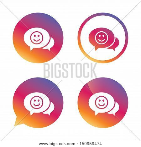 Chat Smile icon. Happy face chat symbol. Gradient buttons with flat icon. Speech bubble sign. Vector