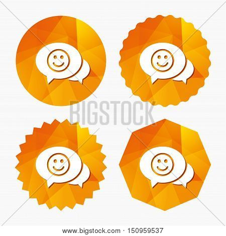 Chat Smile icon. Happy face chat symbol. Triangular low poly buttons with flat icon. Vector