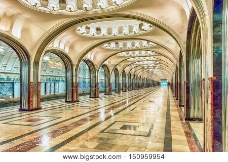Mayakovskaya Subway Station In Moscow, Russia