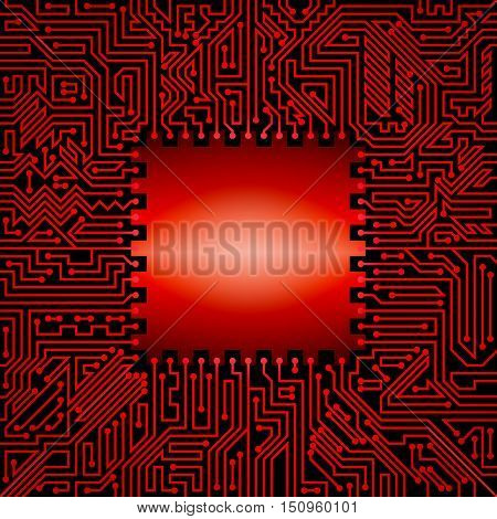 Technological background of motherboard with chip of red and black shades