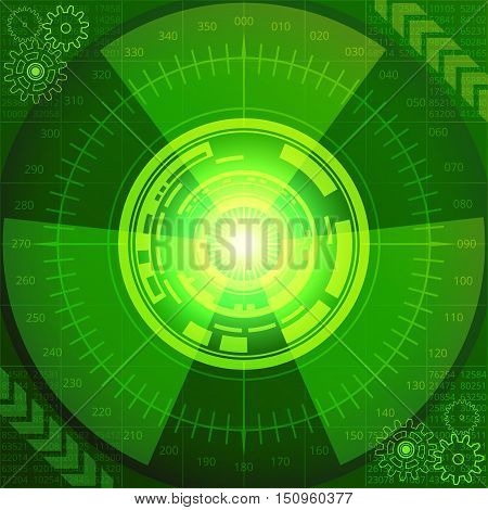 Abstract background of futuristic technology in green shades. Digital technology and engineering concept design