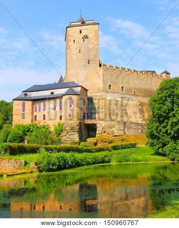 Gothic castle Kost in National Park Cesky Raj (Czech Paradise). Amazing view to medieval monument in Czech Republic. Central Europe. Public state property.
