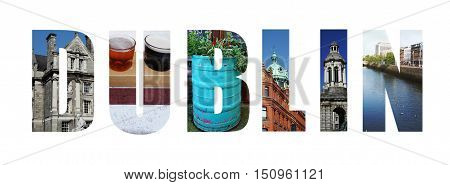 Assorted images of Dublin Ireland in collage over white background