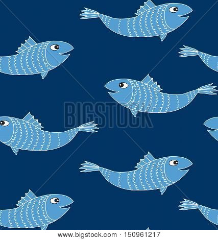 Fish seamless patern. Sea life pattern with fishes. Marine life background.