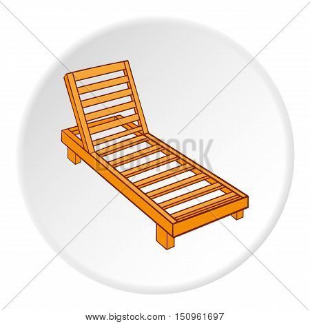 Wooden chaise lounge icon. Cartoon illustration of wooden chaise lounge vector icon for web