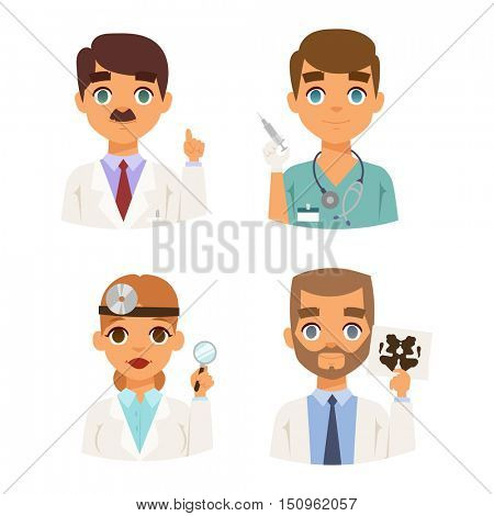 Doctors specialists faces vector set.