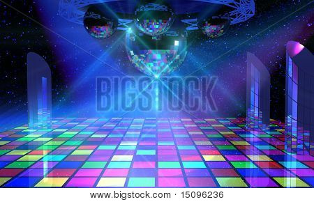 Colorful dance floor with several shining mirror balls