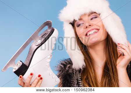 Young Lady Is Wearing Fur Cap.