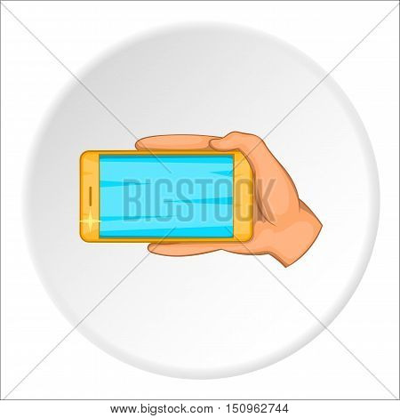 Hand with mobile phone icon. Cartoon illustration of hand with mobile phone vector icon for web