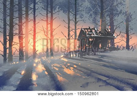 winter landscape of an abandoned house in the forest, illustration painting