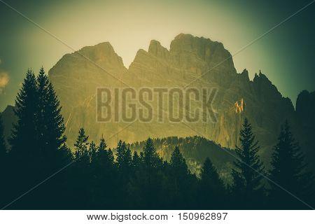 Italian Alps Scenery. Scenic Mountain Vista. Northern Italy