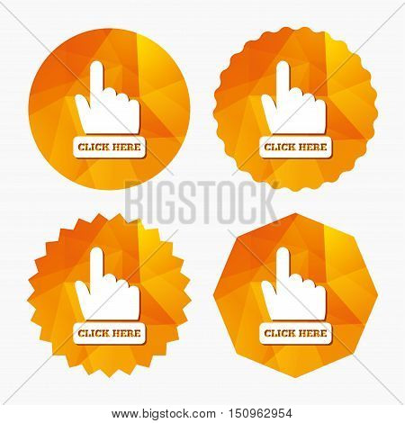 Click here hand sign icon. Press button. Triangular low poly buttons with flat icon. Vector