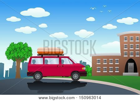 illustration of SUV cartoon infront of building