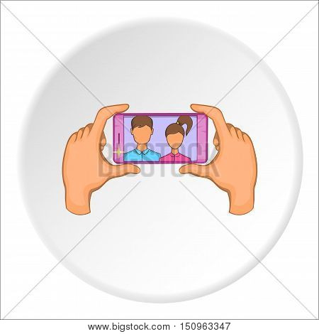 Hands photographed on cell phone icon. Cartoon illustration of hands photographed on cell phone vector icon for web