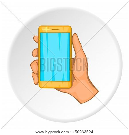 Mobile phone in hand icon. Cartoon illustration of mobile phone in hand vector icon for web