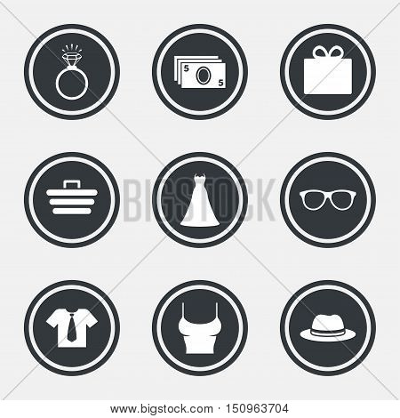 Accessories, clothes icons. Shirt with tie, glasses signs. Dress and engagement ring symbols. Circle flat buttons with icons and border. Vector