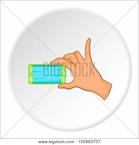 Hand holding mobile phone icon. Cartoon illustration of hand holding mobile phone vector icon for web