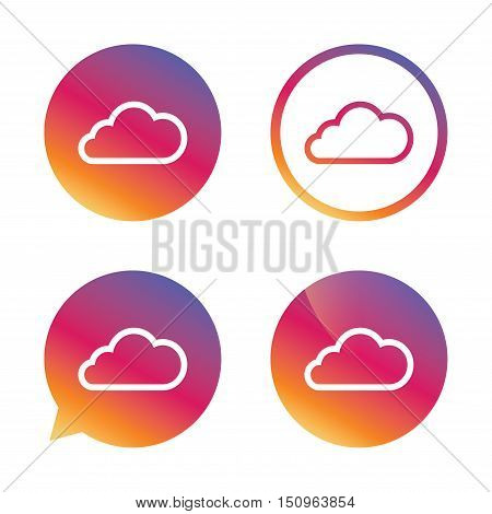 Cloud sign icon. Data storage symbol. Gradient buttons with flat icon. Speech bubble sign. Vector