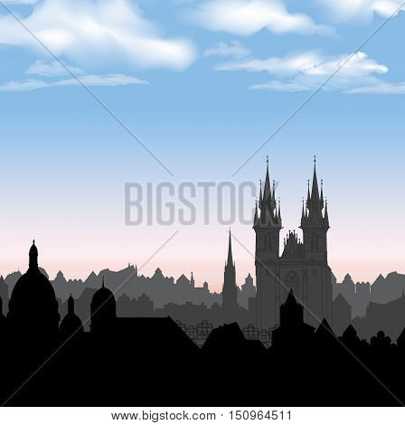 Old Town of Prague Czech Republic. Cityscape in the old european city with tower. Skyline background. Historic city street. Travel Prague bakcground.
