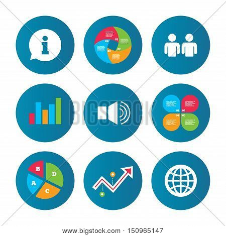 Business pie chart. Growth curve. Presentation buttons. Information sign. Group of people and speaker volume symbols. Internet globe sign. Communication icons. Data analysis. Vector
