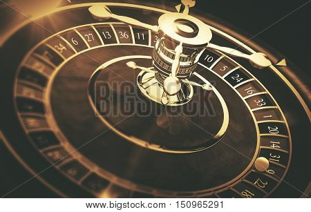 Vintage Roulette Gaming Concept 3D Render Illustration. Roulette Closeup.