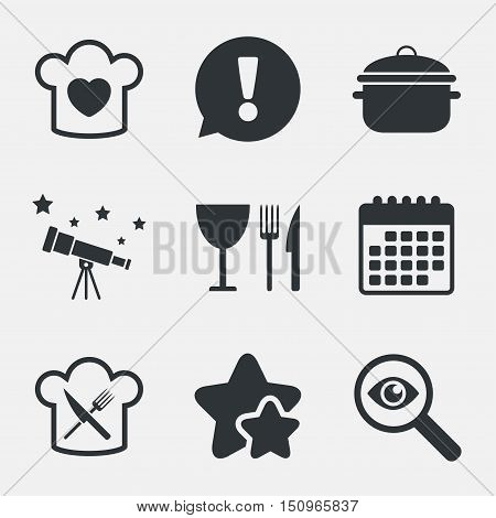 Chief hat with heart and cooking pan icons. Crosswise fork and knife signs. Boil or stew food symbol. Attention, investigate and stars icons. Telescope and calendar signs. Vector