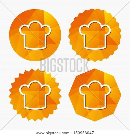 Chef hat sign icon. Cooking symbol. Cooks hat. Triangular low poly buttons with flat icon. Vector