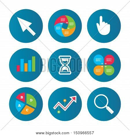 Business pie chart. Growth curve. Presentation buttons. Mouse cursor and hand pointer icons. Hourglass and magnifier glass navigation sign symbols. Data analysis. Vector
