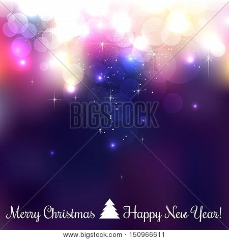 Colorful Merry Christmas background with snowflakes light stars. Vector Illustration. xmas bokeh