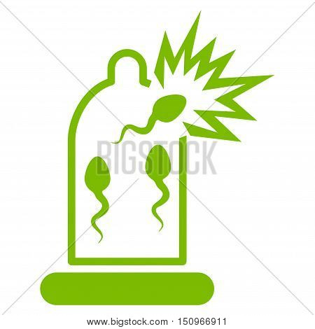 Damaged Condom With Sperm vector icon. Style is flat symbol, eco green color, rounded angles, white background.