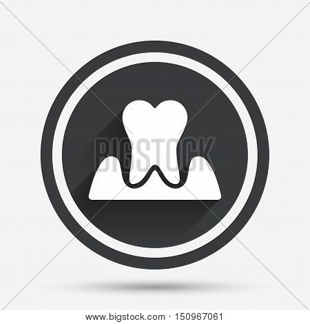 Parodontosis tooth icon. Gingivitis sign. Inflammation of gums symbol. Circle flat button with shadow and border. Vector