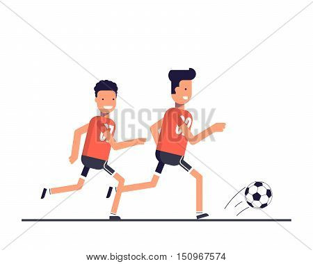 Two football players running after the ball. Team play. Training or playing sports. The competition on the game of football. Happy athletes. Vector illustration in a flat style