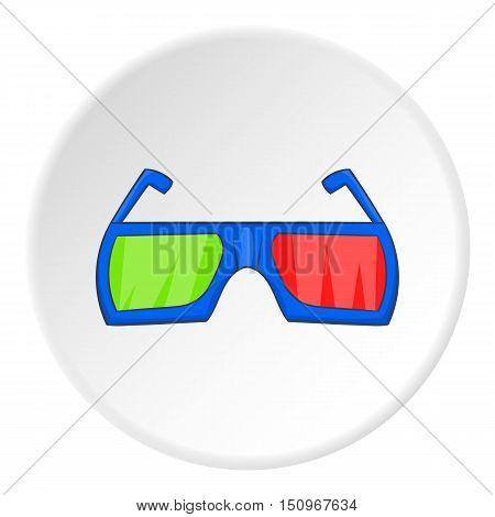 Glasses for 3d movie icon. Cartoon illustration of glasses for 3d movie vector icon for web