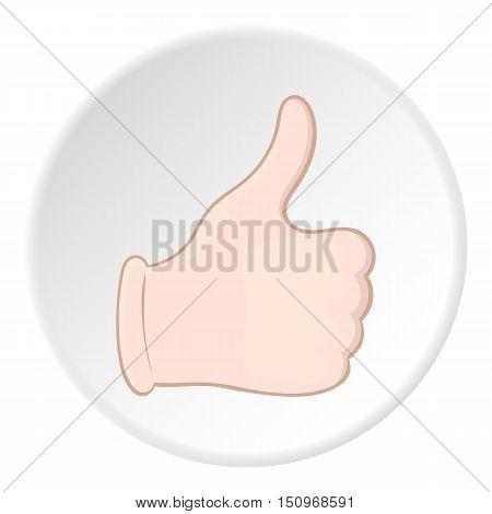 Hand with thumb up icon. Cartoon illustration of hand with thumb up vector icon for web