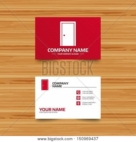 Business card template. Door sign icon. Enter or exit symbol. Internal door. Phone, globe and pointer icons. Visiting card design. Vector
