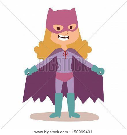 Superhero kid girlcartoon vector illustrationt. Super children illustration. Super hero kid girlplay, fly success people concept vector illustration