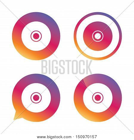 CD or DVD sign icon. Compact disc symbol. Gradient buttons with flat icon. Speech bubble sign. Vector